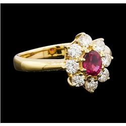 0.39 ctw Ruby and Diamond Ring - 18KT Yellow Gold
