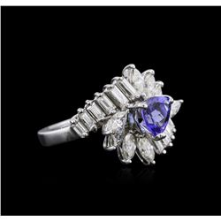 Platinum 1.07 ctw Tanzanite and Diamond Ring