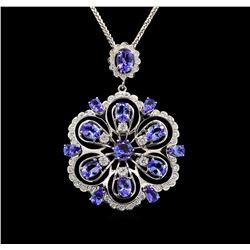 14KT White Gold 8.42 ctw Tanzanite and Diamond Pendant With Chain