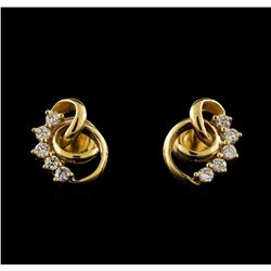 0.50 ctw Diamond Earrings - 14KT Yellow Gold