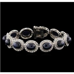 44.19 ctw Blue Star Sapphire and Diamond Bracelet - 14KT White Gold