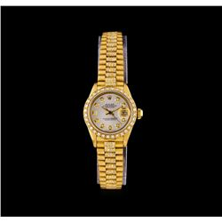 Rolex 18KT Gold Super President 2.18 ctw Diamond DateJust Ladies Watch