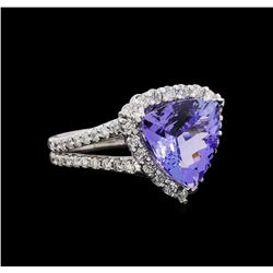 14KT White Gold 4.78 ctw Tanzanite and Diamond Ring