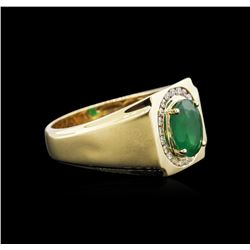 1.95 ctw Emerald and Diamond Ring - 14KT Yellow Gold