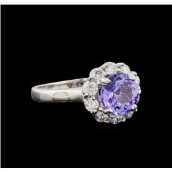 14KT White Gold 2.23 ctw Tanzanite and Diamond Ring