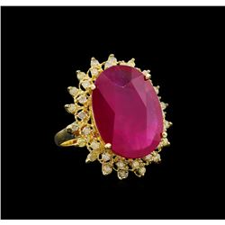 17.87 ctw Ruby and Diamond Ring - 14KT Yellow Gold