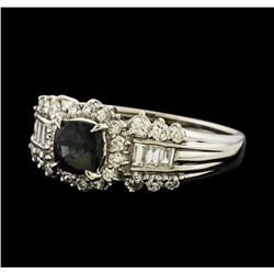 0.96 ctw Alexandrite and Diamond Ring - Platinum