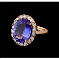 9.61 ctw Tanzanite and Diamond Ring - 14KT Rose Gold