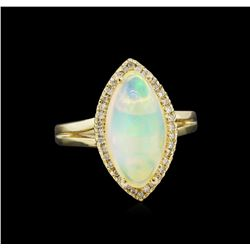 2.91 ctw Opal and Diamond Ring - 14KT Yellow Gold