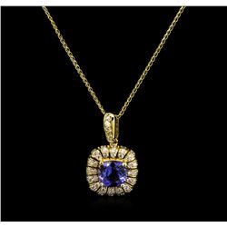 2.27 ctw Tanzanite and Diamond Pendant With Chain - 14KT Yellow Gold