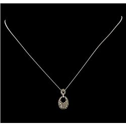 0.92 ctw Brown Diamond Pendant With Chain - 14KT White Gold