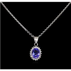 1.98 ctw Tanzanite and Diamond Pendant - 14KT White Gold
