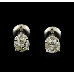1.35 ctw Diamond Solitaire Earrings - 14KT White Gold