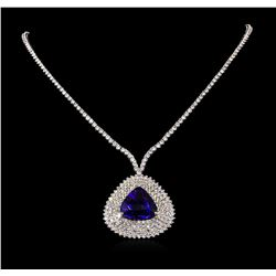 18KT White Gold 24.23 ctw Tanzanite and Diamond Necklace