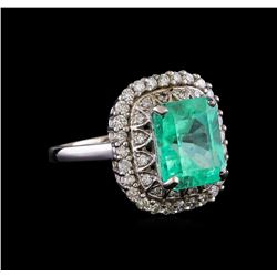 3.83 ctw Emerald and Diamond Ring - 14KT White Gold
