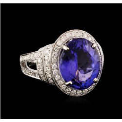 18KT White Gold 7.20 ctw Tanzanite and Diamond Ring