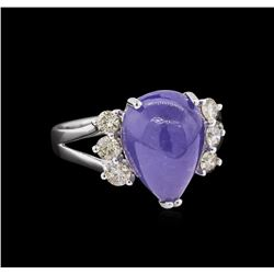 7.17 ctw Tanzanite and Diamond Ring - 14KT White Gold