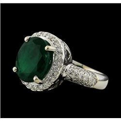 4.48 ctw Emerald and Diamond Ring - 14KT White Gold