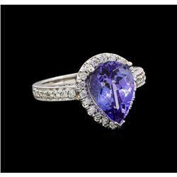 14KT White Gold 2.87 ctw Tanzanite and Diamond Ring