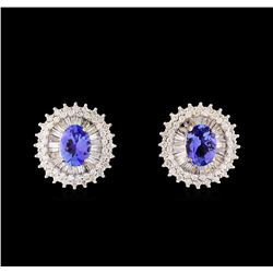14KT White Gold 2.44 ctw Tanzanite and Diamond Stud Earrings