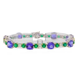 18.51 ctw Tanzanite, Emerald and Diamond Bracelet - 18KT White and Yellow Gold