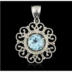 14KT White Gold 3.50 ctw Blue Topaz & Diamond Pendant