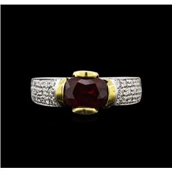 2.06 ctw Ruby and Diamond Ring - 18KT Two-Tone Gold