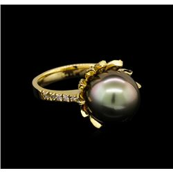 0.58 ctw Pearl and Diamond Ring - 14KT Yellow Gold