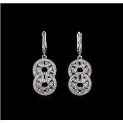 1.01 ctw Diamond Dangle Earrings - 14KT White Gold