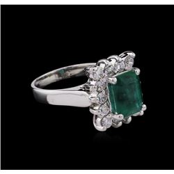 2.77 ctw Emerald and Diamond Ring - 14KT White Gold