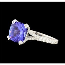 1.77 ctw Tanzanite and Diamond Ring - Platinum