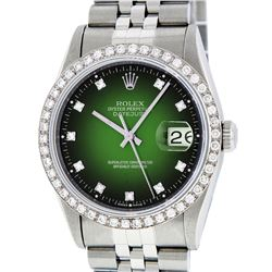 Rolex Stainless Steel Green Vignette Diamond DateJust Men's Watch