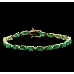 10.00 ctw Emerald and Diamond Bracelet - 14KT Yellow Gold