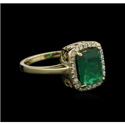 1.74 ctw Emerald and Diamond Ring - 14KT Yellow Gold