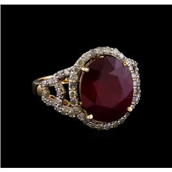 8.79 ctw Ruby and Diamond Ring - 14KT Yellow Gold