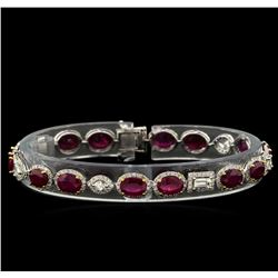 13.02 ctw Ruby and Diamond Bracelet - 18KT White Gold