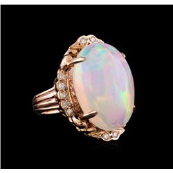 26.06 ctw Opal and Diamond Ring - 14KT Rose Gold