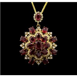 14KT Yellow Gold 44.47 ctw Ruby and Diamond Pendant With Chain