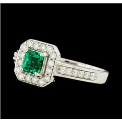 0.48 ctw Emerald and Diamond Ring - 14KT White Gold