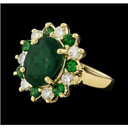 4.04 ctw Emerald, Tsavorite and Diamond Ring - 14KT Yellow Gold