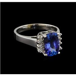 2.86 ctw Tanzanite and Diamond Ring - 14KT White Gold