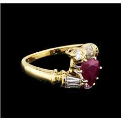 1.26 ctw Ruby and Diamond Ring - 14KT Yellow Gold