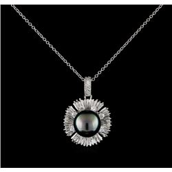 0.45 ctw Pearl and Diamond Pendant With Chain - 14KT White Gold