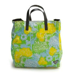 Prada Yellow and Green Floral Nylon Tote Bag