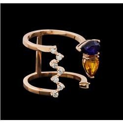 14KT Rose Gold 1.62 ctw Sapphire and Diamond Ring