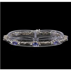 4.40 ctw Tanzanite and Diamond Bracelet - 14KT White Gold