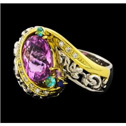 3.98 ctw Kunzite Ring - Platinum and 18KT Yellow Gold