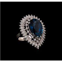 14KT White Gold 14.73 ctw Topaz and Diamond Ring