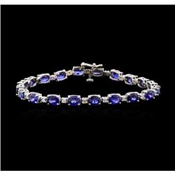 12.47 ctw Sapphire and Diamond Bracelet - 14KT White Gold