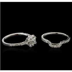 1.36 ctw Diamond Wedding Ring Set - 14KT White Gold